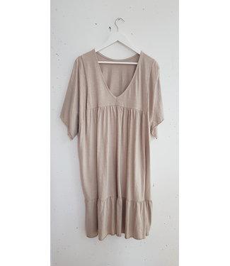 Dress wide short, Beige