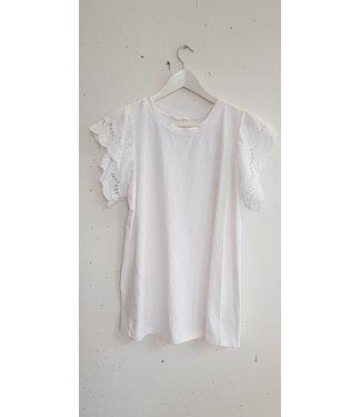 T-shirt lace sleeve, White