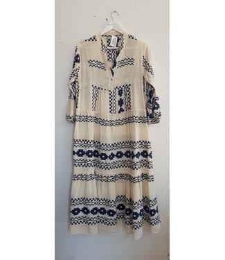 Dress long linnen print, White blue