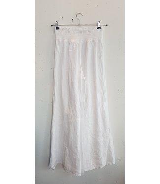 Pants wide linnen, White