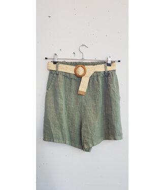 Short linnen belt, Army Green