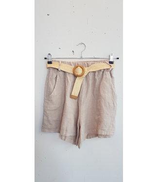 Short linnen belt, Beige