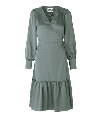 Just Female Minnie wrap dress, Balsem green