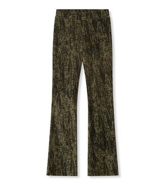 ALIX the label Animal rib flared pants, Dark olive
