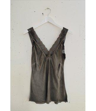 Singlet big lace, Brown grey