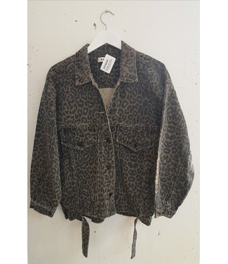 Jacket leopard denim, Brown black