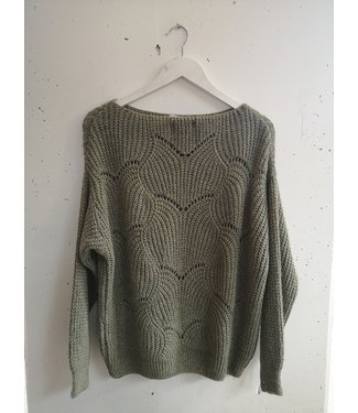 Sweater knitted waves, Army green