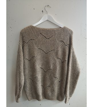 Sweater knitted waves, Beige