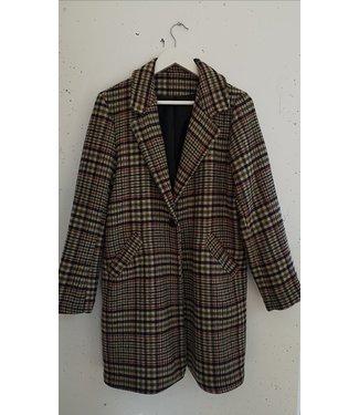 Coat blazer checked, Beige blue green red