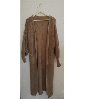 Cardigan knit long split, Beige