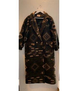Coat aztec long, Green black brown