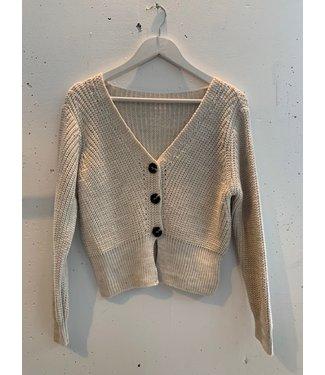 Cardigan knitted short, Beige