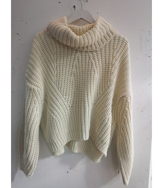 Col sweater knitted, Beige