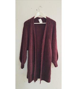 Cardigan knit long, Bordeaux