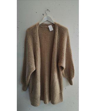 Cardigan knit long, Creme