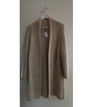 Cardigan knitted long, Creme