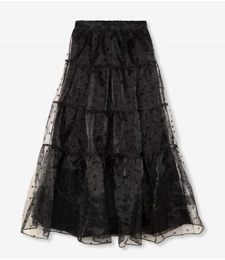 ALIX the label Wide organza full length skirt, Black
