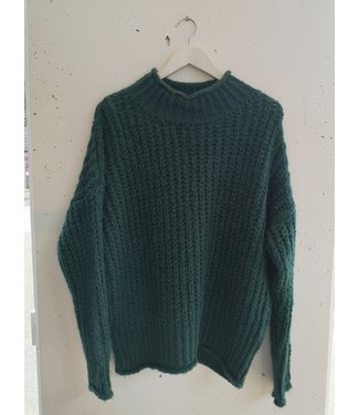 Sweater knitted col, Petrol