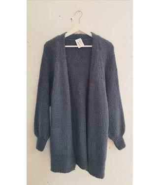 Cardigan knit long, Light blue