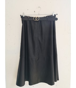 Skirt faux leather wide, Black