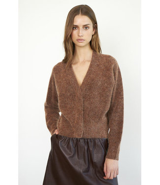 Second female Brook knit boxy cardigan, Copper Brown