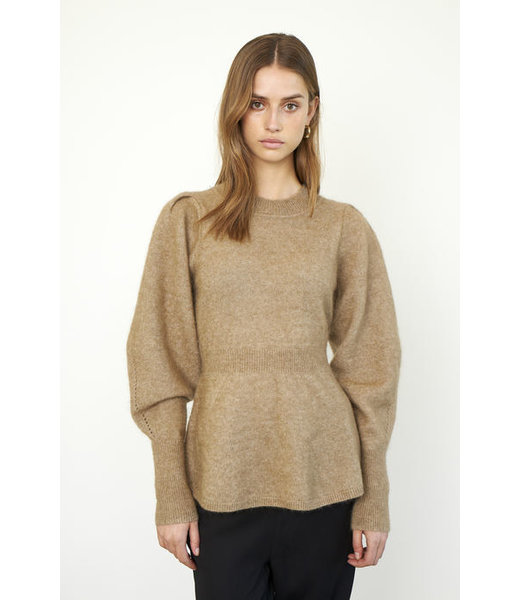Second female Brooky knit peplum O-neck, Sepia tint
