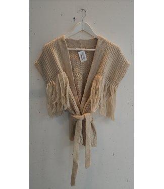 Gilet knitted fringe, Beige