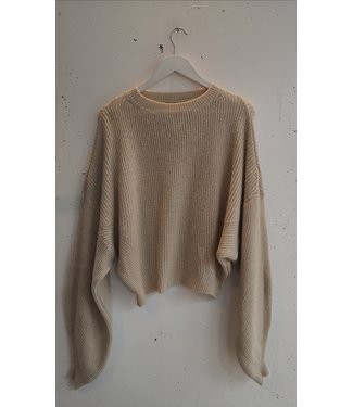 Sweater knitted short wide, Beige