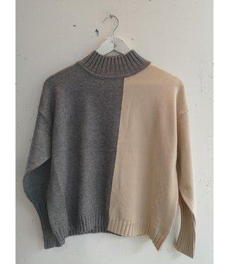 Sweater col comfy (suit), Grey beige