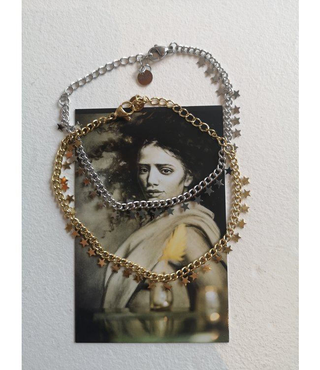 Bracelet chain stars, Silver