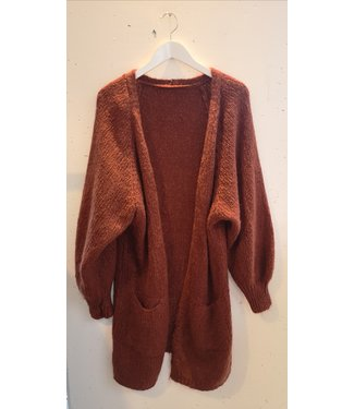 Cardigan knit long, Orange