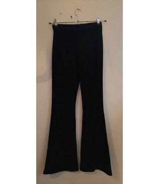 Flared velvet rib pants, Black