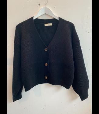 Cardigan top comfy rib (suit), Black
