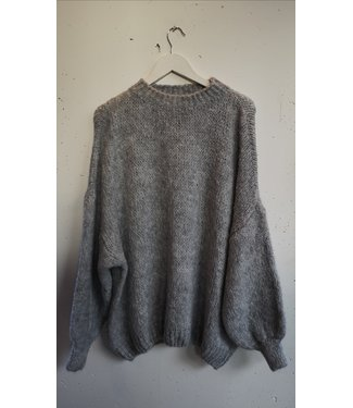 Knitted sweater wide, Light Grey
