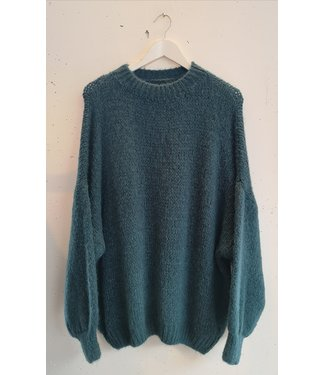 Knitted sweater wide, Petrol