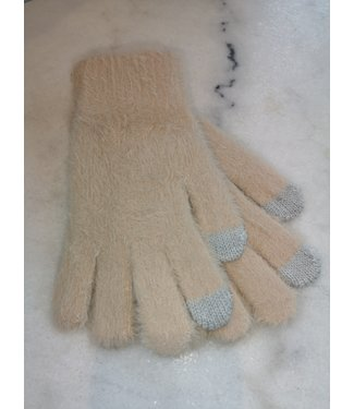 Gloves fluffy touch finger, Beige