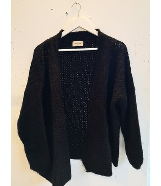 knitted cardigan wide short, Black