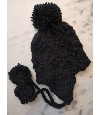 Beanie knitted cord, Black