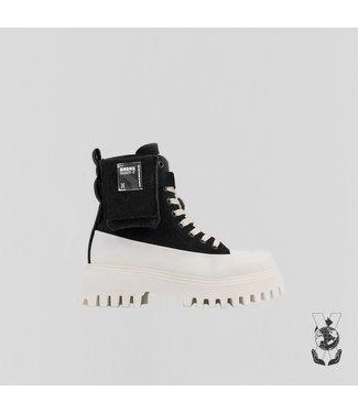 BRONX Boots GROOV-Y bootie canvas, Zwart off white
