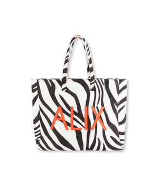 ALIX the label Bag big zebra felted, Black white