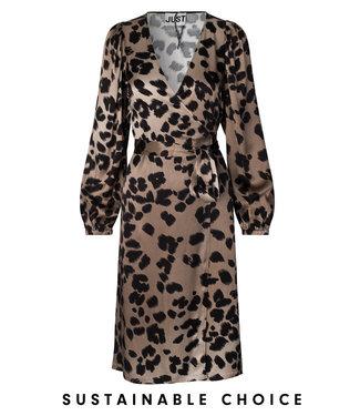 Just Female Laguna wrap dress, Leopard