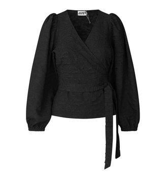 Just Female Toda wrap blouse, Black