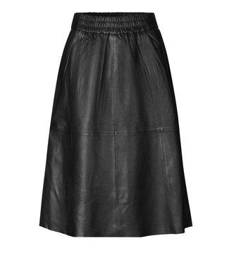 Second female Melvin leather midi skirt, Black