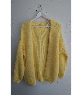 Cardigan knitted midi, Light Yellow