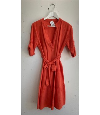 Dress midi cotton wrinkles, Coral red