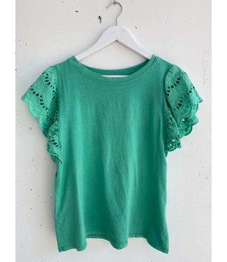 T-shirt lace sleeve ruffle, Grass green