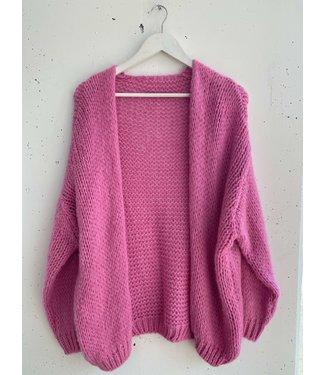 Cardigan knitted midi, Dark pink