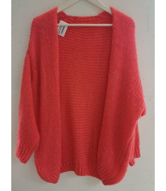 Cardigan knitted midi, Coral red
