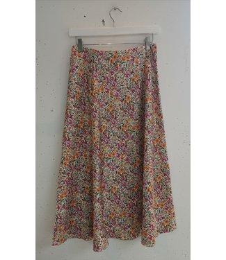 Skirt midi flowers, White orange pink