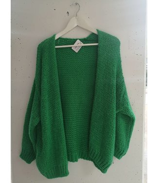 Cardigan Knitted Midi, Grass green